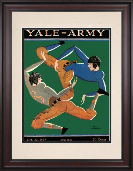 1927 Yale Bulldogs Vs. Army Black Knights 10.5x14 Framed Historic Football Print