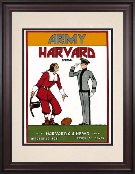 1928 Harvad Crimson Vs. Army Black Knights 10.5x14 Framed Historic Football Print