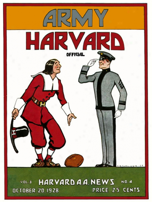 1928 Harvard Crimson Vs. Army Black Knights 36 X 48 Canvas Historic Football Print