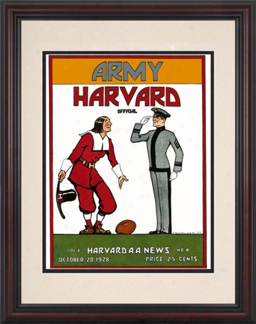 1928 Harvard Crimson Vs. Army Black Knights 8.5 X 11 Framed Historic Football Print