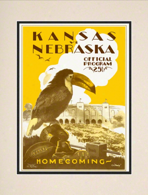 1928 Kansas Vs. Nebraska 10.5x14 Matted Historic Football Mark