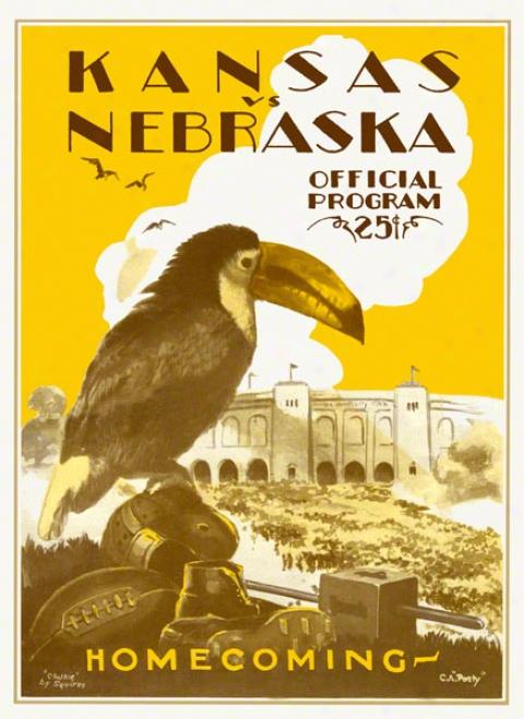 1928 Kansas Vs. Nebraska 36 X 48 Canvas Historic Football Print