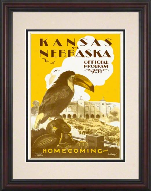 1928 Kansas Vz. Nebraska 8.5 X 11 Framed Historic Football Prnit