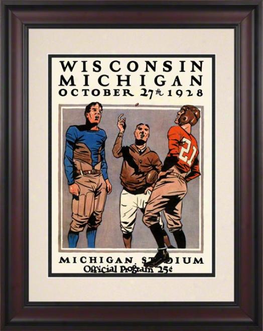 1928 Michigan Vs. Wisconsin 10.5x14 Framed Historic Football Ptint