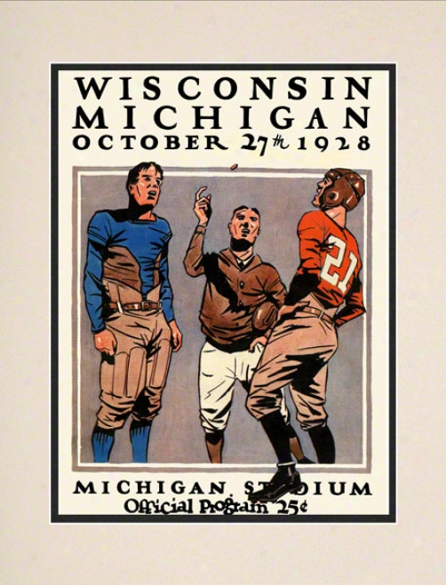 1928 Michigan Vs. Wisconsin 10.5x14 Matted Historic Football Print