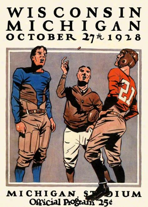 1928 Michigan Vs. Wisconsin 22 X 30 Canvas Historic Foottball Print