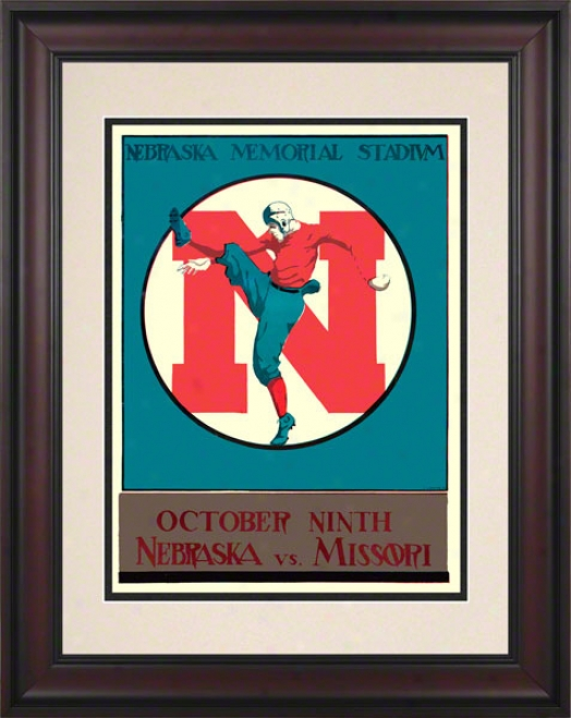1928 Nebraska Vs. Missouri 10.5x14 Framed Historic Football Print