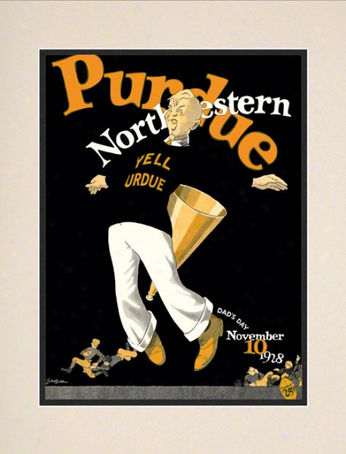 1928 Northwester Vs. Purdue 10.5x14 Matted Historic Football Print