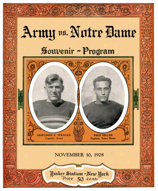 1928 Notre Dame Fighting Irish Vs Army Black Knights 22 X 30 Canvas Historic Football Poster