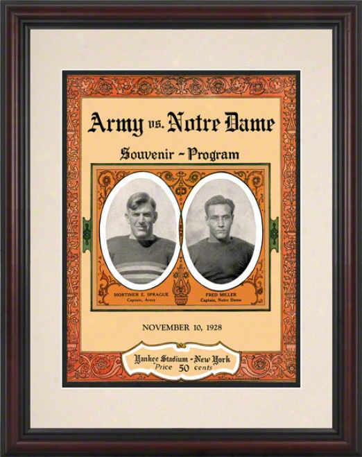 1928 Notre Dame Fighging Irish Vs Army Black Knights 8.5 X 11 Framed Hiistoric Football Poster
