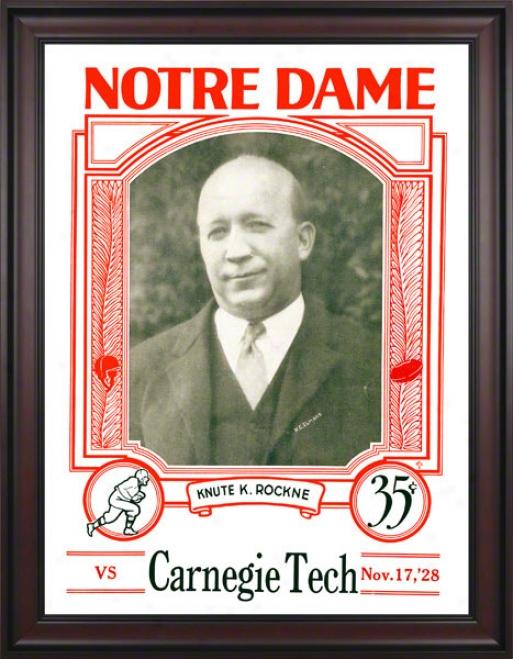 1928 Notre Dame Fighting Irlsh Vs Carnegie Tech 36 X 48 Framed Canvas Historic Football Poster