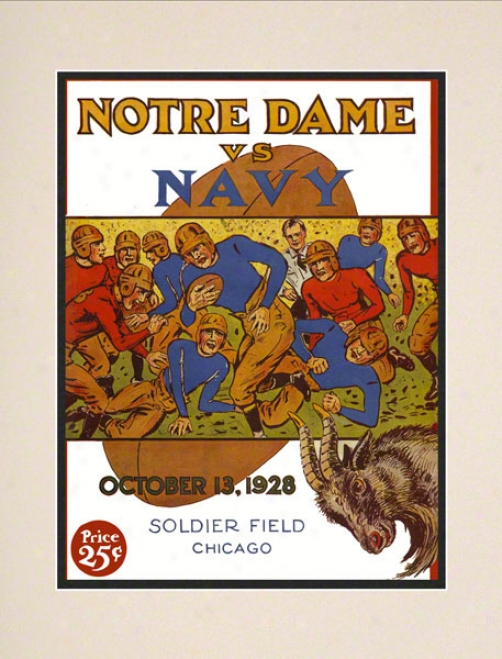 1928 Notre Dame Fighting Irish Vs Navy Midshipmen 10 1/2 X 14 Matted Historic Football Poster