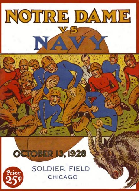 1928 Notre Dame Fighting Irish Vs Navy Midshipmen 22 X 30 Canvas Hidtoric Football Poster