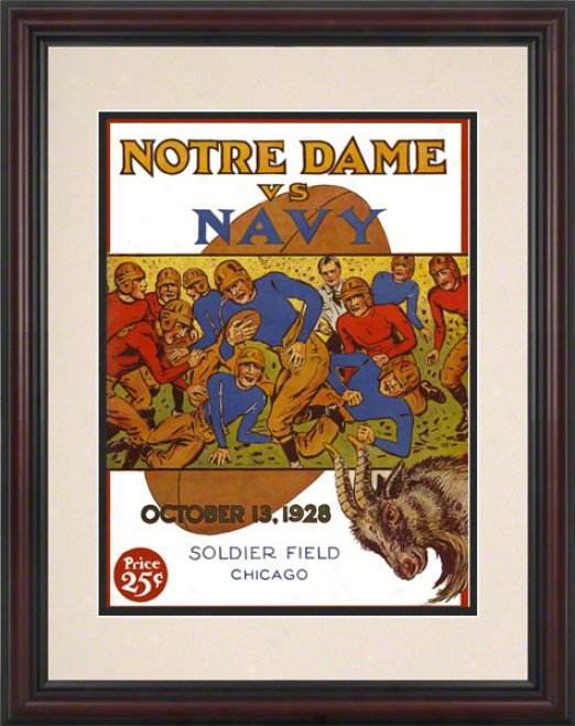 1928 Notre Dame Fighting Irish Vs Navy Midshipmen 8.5 X 11 Framed Histroiv Football Poster