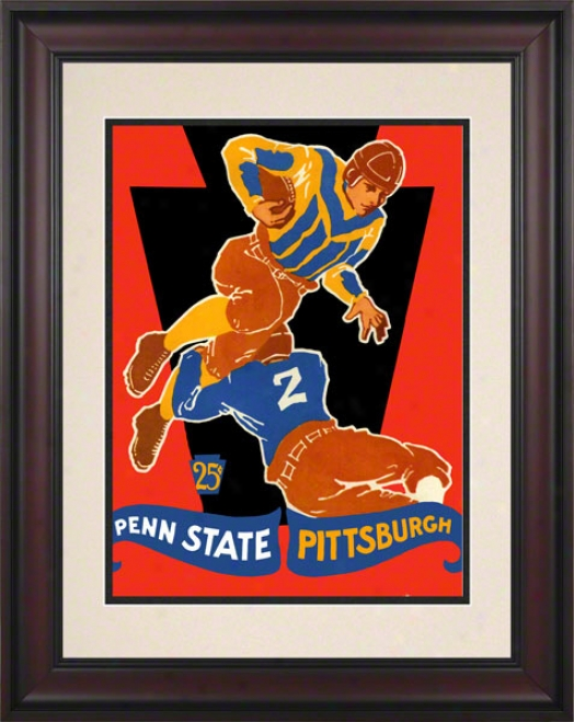1928 Pittsburgh Panthers Vs Penn State Nittany Lions 10 1/2 X 14 Framed Historic Football Poster