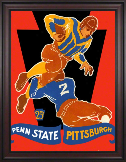 1928 Pittsburgh Panthers Vs Penn State Nittany Lions 36 X 48 Framed Canvas Historic Football Poster