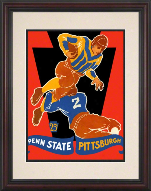 1928 Pittsburgh Panthers Vs Penn State Nittany Lions 8.5 X 11 Framed Historic Football Poster