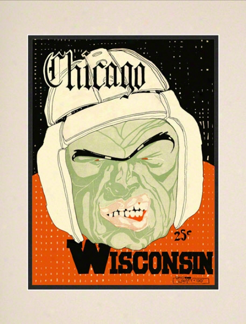 1928 Wisconsin Vs. Chicago 10.5x14 Matted Historic Football Print