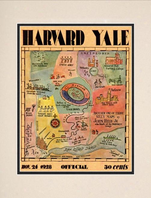 1928 Yale Bulldogs Vs. Harvard Crimson 10.5x13 Matted Historic Football Print
