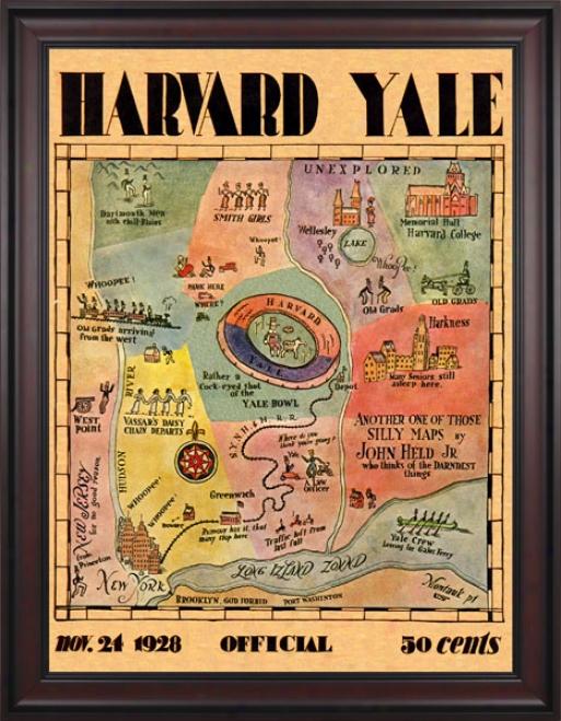 1928 Yale Bulldogs Vs. Harvard Crimson 36 X 48 Framed Canvas Historic Football Print