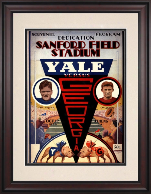 1929 Geirgia Bulldogs Vs. Yale Bulldogs 10.5x14 Framed Historic Football Print