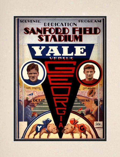 1929 Georgia Bulldogs Vs. Yale Bulldogs 10.5x14 Matted Histkric Football Print