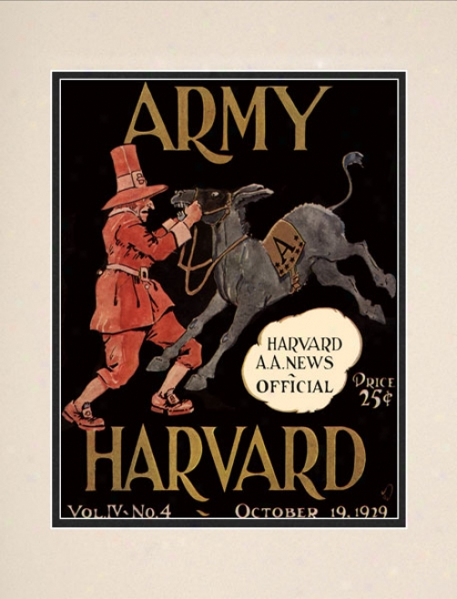 1929 Harvard Crimson Vs. Army Black Knights 10.5x14 Matted Historic Football Print