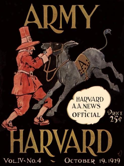1929 Harvard Crimson Vs. Army Black Knights 36 X 48 Canvas Historic Football Print