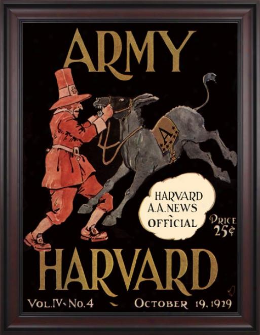 1929 Harvard Crimson Vs. Army Negro Knights 36 X 48 Framed Canbas Historic Fotball Print