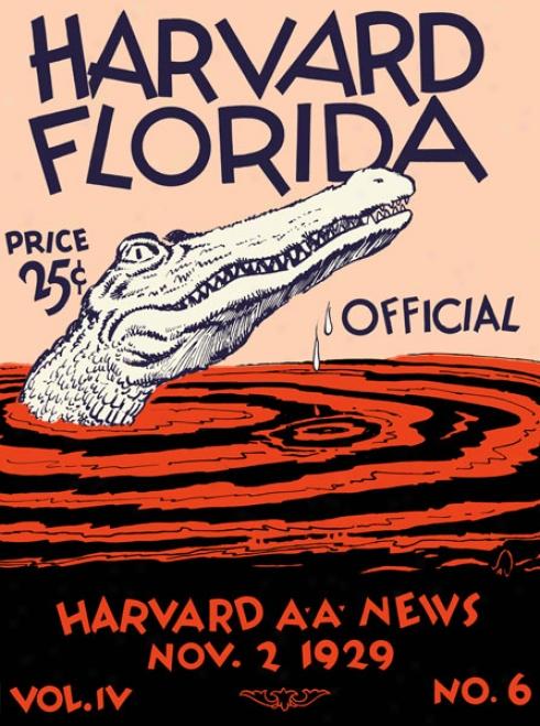 1929 Harvard Crimson Vs. Florida Gators 36 X 48 Canvas Historic Football Print