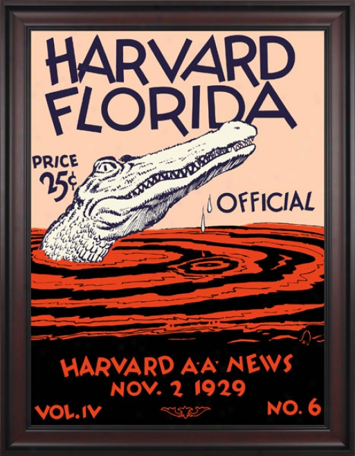 1929 Harvard Crimson Vs. Florida Gators 36 X 48 Framed Canvas Historic Foobtall Print