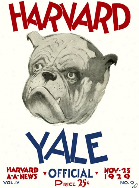 1929 Haevard Crimson Vs. Yale Bulldogs 22 X 30 Canvas Historic Football Print
