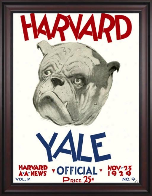 1929 Harvard Crimson Vs. Yale Bulldogs 36 X 48 Framed Canvas Historic Football Print