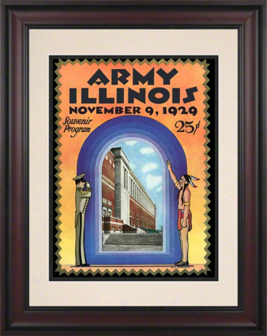 1929 Illinois Vs. Host 10.5x14 Framed Historic Football Print