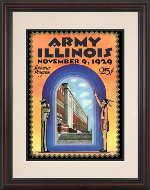 1929 Illinois Vs. Army 8.5 X 11 Framed Historic Football Print
