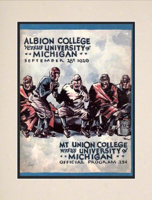 1929 Michigan Vs. Mt.union 10.5x14 Matted Historic Football Print