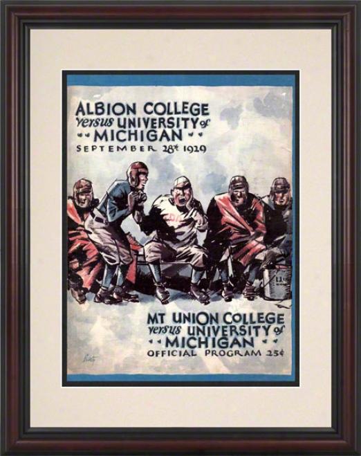 192 9Michigan Vs. Mt.union 8.5 X 11 Framed Historic Football Print