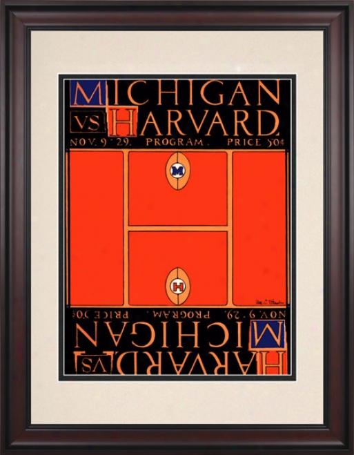 1929 Michigan Wolverines Vs. Harvard Crimson 10.5x14 Framed Historic Football Print