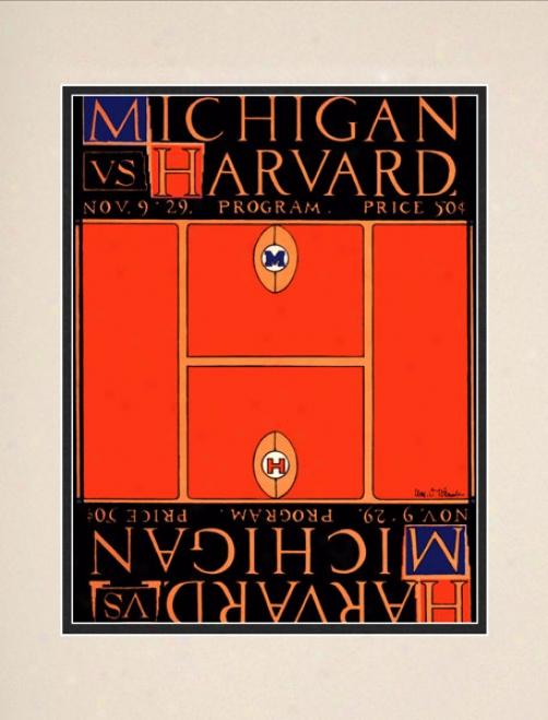 1929 Michigan Wolverines Vs. Harvard Crimson 10.5x14 Matted Historic Football Print