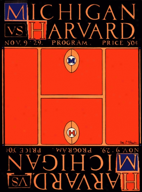 1929 Michigan Wolverines Vs. Harvard Crimson 22 X 30 Canvas Historic Football Print
