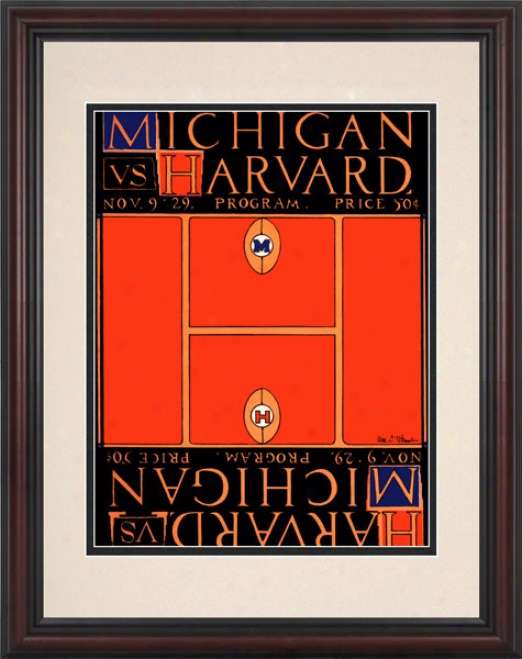 1929 Michigan Wolverines Vs. Harvard Crimson 8.5 X 11 Framed Historic Football Print