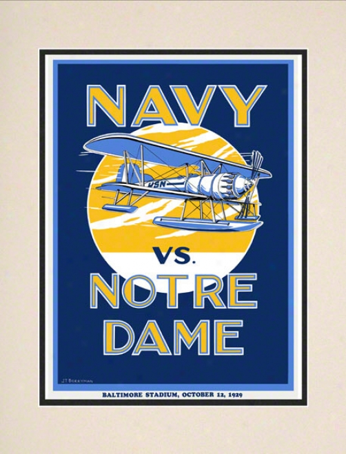 1929 Notre Dame Contention Irish Vs Navy Midshipmen 10 1/2 X 14 Matted Historic Football Poster