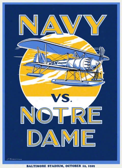 1929 Notre Dame Fighting Irish Vs Navy Midshipmen 22 X 30 Canvas Historic Football Poster