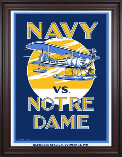 1929 Notre Mistress Flghting Irish Vs Navy Midshipmen 36 X 48 Framed Canvas Historic Football Poster