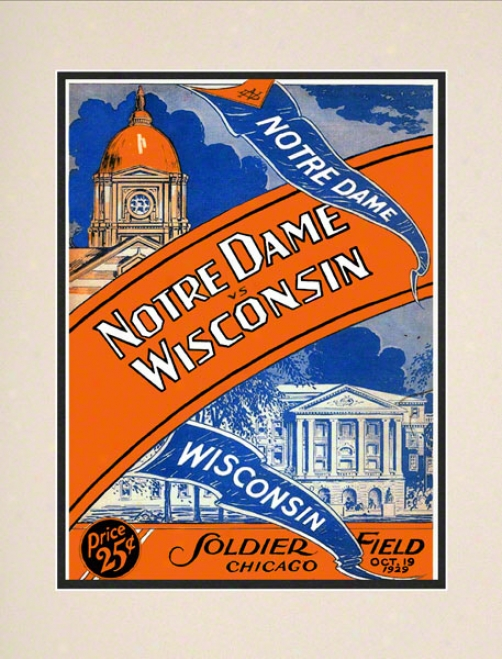 1929 Norre Dame Fighting Irish Vs Wisconsin Badgers 10 1/2 X 14 Matted Historic Football Poster