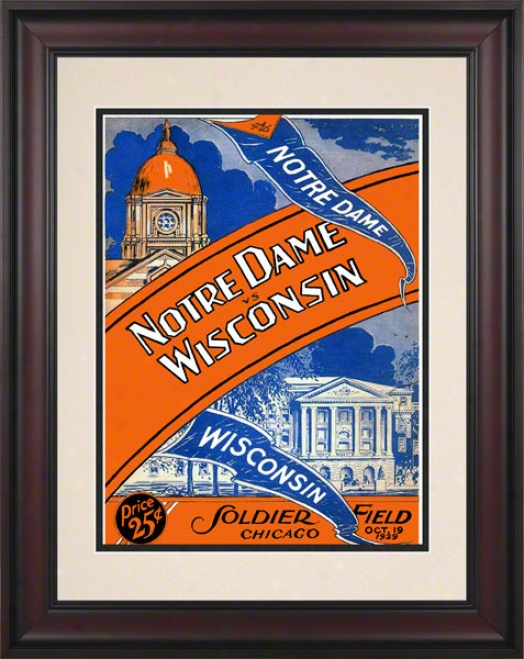 1929 Notre Dame Fighting Irohs Vs Wisconsin Badgers 10 1/2 X 14 Framed Historic Football Poster