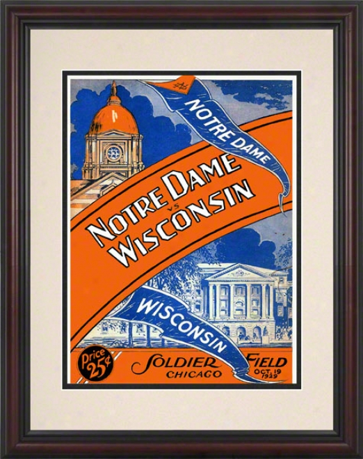 1929 Notre Dame Fighting Irish Vs Wisconsin Badgers 8.5 X 11 Framed Historic Football Poster
