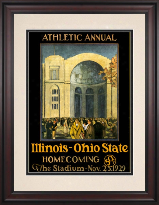1929 Ohio State Buckeyes Vs. Illibois Fighting Illini 10.5x14 Framed Historic Football Print
