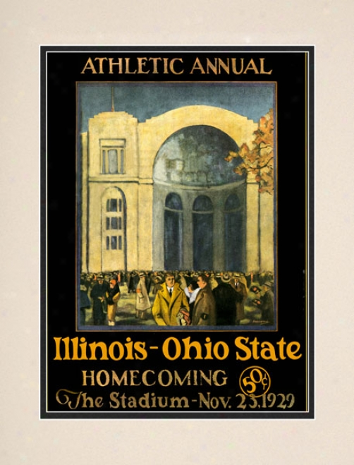 1929 Ohio State Buckeyes Vs. Illinois Fighting Illini 10.5x14 Matted Historic Football Print