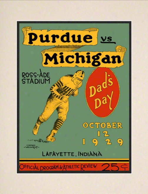 1929 Purdue Vs .Michigan 10.5x14 Matted Historic Football Print